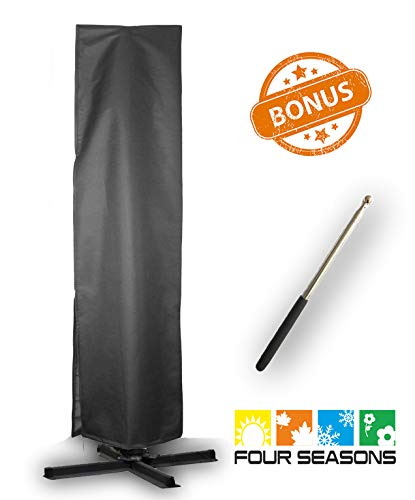 Umbrella Covers,Patio Outdoor Offset Cantilever Umbrella Cover with Push Rod Waterproof Market Parasol Covers with Zipper for 9ft to 13ft Outdoor Umbrellas Large