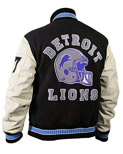 LeatherTrendz Beverly Hills Cop Detroit Lions Letterman - Chaqueta para Hombre en Lana con Mangas de Piel sintética (XX2-5XL), Chaqueta Eddie Murphy
