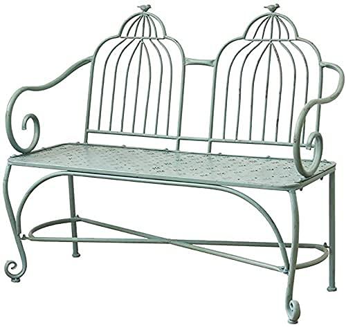 Banco al aire libre Banco de patio, muebles de porche delantero, taburete de patio de hierro forjado retro, banco de metal de jardín de terraza al aire libre, silla de decoración de porche en for