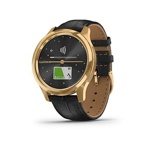 GARMIN(ガーミン) 腕時計 スマートウォッチ vivomove Luxe Black Embossed Leather / 24K Gold PVD ユニセックス 010-02241-72
