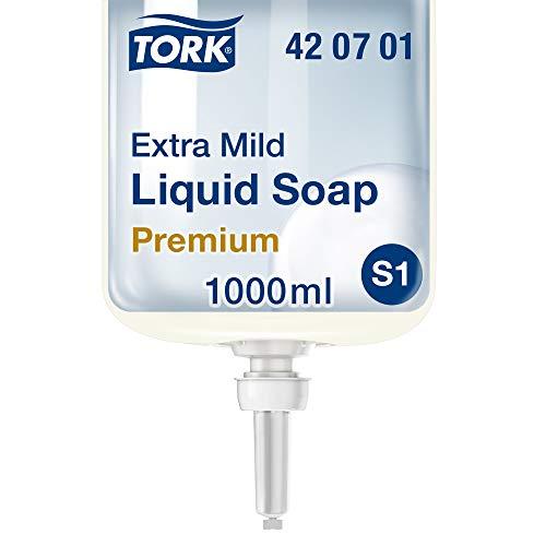 Tork 420701 extra milde Flüssigseife Premium für Tork S1 Seifenspendersysteme / Extra milde Handseife in Weiß mit sanften Inhaltsstoffen für empfindliche Haut / 1 x 1000ml