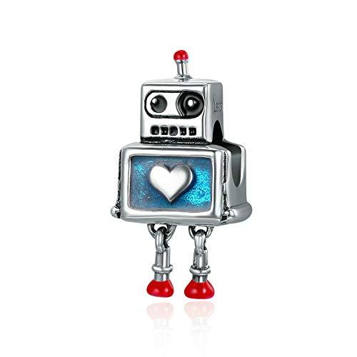 DFHTR Los Encantos del Corazón del Robot Lindo De La Plata Esterlina 925 Se Ajustan A Las Pulseras del Encanto para Las Joyas De La Plata Esterlina De Las Mujeres