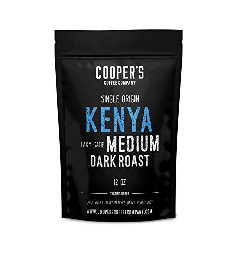 Kenya AA Medium-Dark Roast Coffee Beans, Micro Lot Single Origin Whole Bean Coffee, Farm Gate Direct Trade, Gourmet Coffee - 12 oz Bag