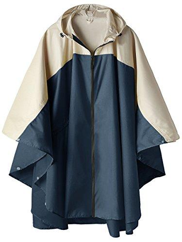 Waterproof Rain Poncho Jacket Hooded Coat Colorblock(Navy with Zipper)