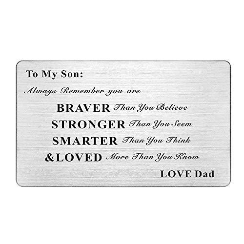 Laser Engraved Stainless Steel Wallet Card Love Note Insert Card Gift for Son from Dad (To My Son Love Dad)