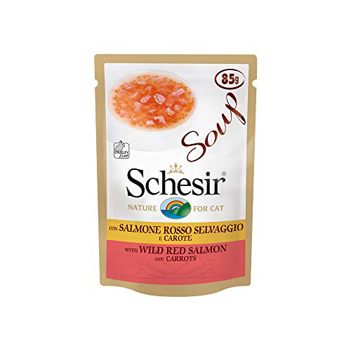 Schesir Cat Soup Wilder Rotlachs, Katzenfutter Suppe, 20 Beutel x 85 g