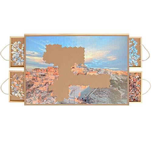 LAVIEVERT Holzpuzzle Tisch, Puzzle Plateau, Puzzle Tafel mit 4 Schiebe schubladen für bis zu 1.000 Stück