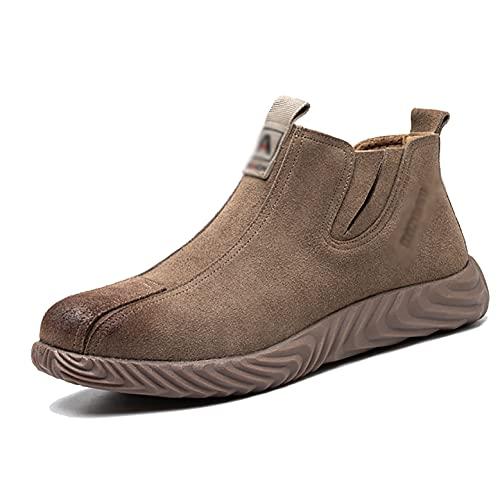 Zapatos de trabajo Soldador de cuero de gamuza de los hombres Zapatos de seguridad a prueba de puntas Sin deslizamiento Sole suela zapatos de trabajo de acero transpirable PAPA DE TOE PROTECTORES Zapa