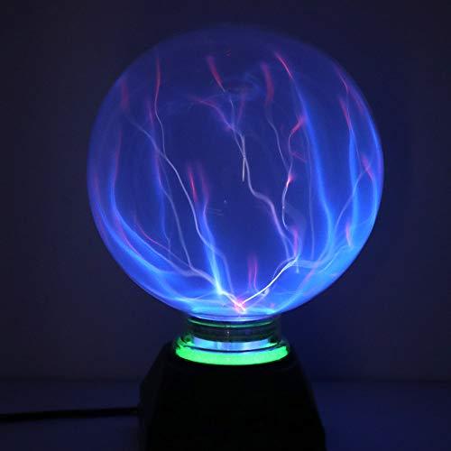 DAXGD Luces de bola de plasma, luz de plasma mágica de 5 pulgadas, lámpara estática de globo, luz mágica de fiesta electrostática sensible al tacto, luz azul