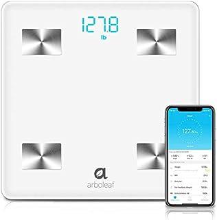 Arboleaf Báscula Grasa Corporal - Bascula de Baño Digital, Escala Bluetooth Inteligente, Andriod y iOS APP Profesional Analiza 10 Datos, Monitor de Composición Corporal,Hasta 180 kg