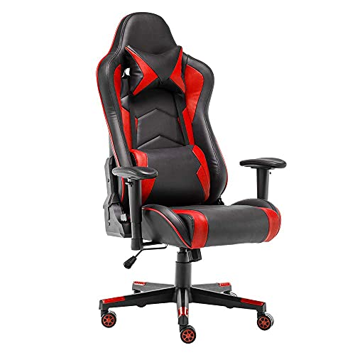 STmeng Comfort X2 Racing Gaming Chair, Ergonomic Computer Chair, PC Gamer Office Chairs with Back Support, Heavy Duty Headrest Flip-up Armrest Leather for Adults, Capacity 300Kg, Red