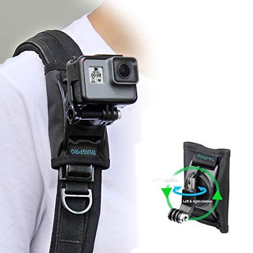 RUIGPRO Update Sport-Kamera-Rucksack-Clip, 360 Grad drehbar, verstellbarer Rucksack-Schultergurt, Gürtelhalterung für GoPro Hero 8 7 6 5 für DJI Osmo Action Zubehör
