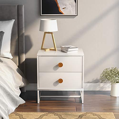 Mesita de noche blanca, mesita de noche de 2 cajones, mesita de noche de madera con marco de metal, moderna mesa auxiliar de sofá con acabado blanco para sala de estar, dormitorio