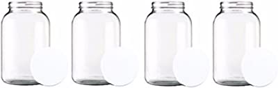 Home Brew Ohio One Gallon Wide Mouth Glass Jar with Lid-Set of 4, Multicolor