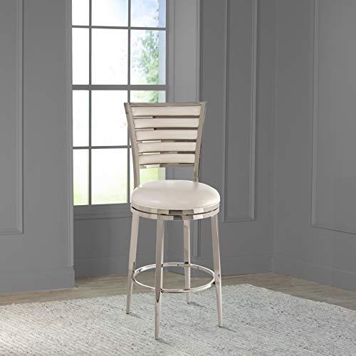 "Hillsdale Furniture Rouen Swivel Counter Stool, 26"", Shiny Nickel"