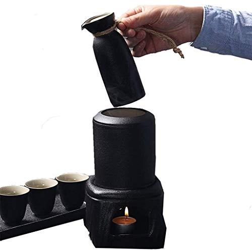ZNGG Simple et Sake Set moderne, 8 pièces de verres à vin en céramique noire avec plateau et la fonction Isoler for le service Sake froid/chaud 8.22