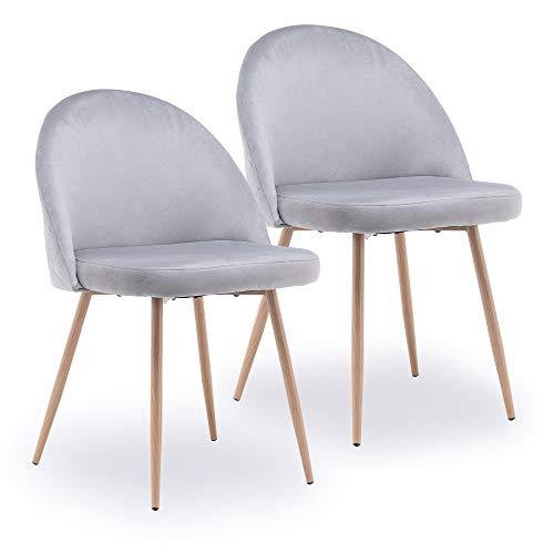Esszimmerstühle 2er Set Küchenstuhl Polsterstuhl Wohnzimmerstuhl Sessel mit Rückenlehne, Sitzfläche aus Samt, Metallbeine