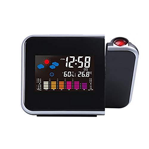 BENREN LED Digital Projection Wecker, mit Thermometer für Wetterstation, Anzeigedatum, USB-Ladegerät, Snooze, Projektionsuhr für Home Office