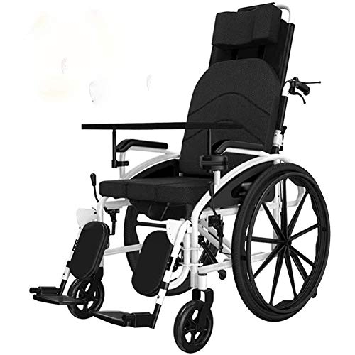 DSHUJC Reclining Wheelchair,Super Lightweight, Aluminium Frame Wheelchair, Folding, Manual Self Propelled, with 18 Inch Quick Release Sports Wheels And 18 Inch Seat
