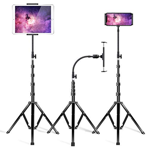 """Luxtude Metal Tablet Stand,Extendable 72"""" Gooseneck Tablet Tripod Stand, Heavy Duty Aluminum Tablet Holder & Floor Stand for iPad, iPad Mini, iPad Pro,iPhone, and All 4.7-12.9"""" Tablets and Phones"""