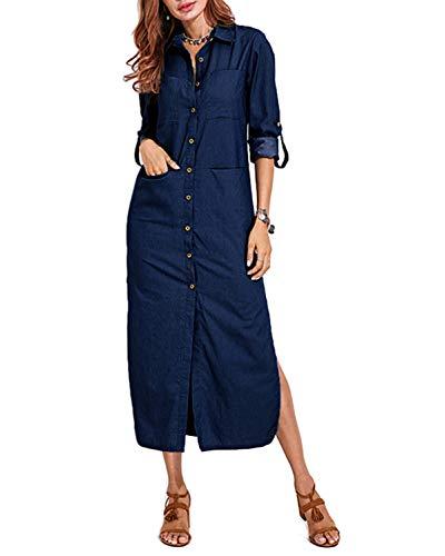 VONDA - Camicia da donna con polsini e bottoni a fessura in denim con tasche Blu denim scuro. L