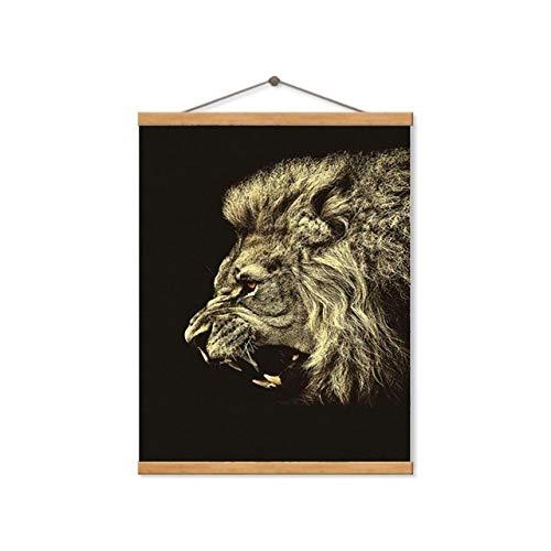 tzxdbh Moderne Dieren Posters En Prints Gouden Huilen Leeuw Muur A4 Art Canvas Schilderen Slaapkamer Decoratie Foto's Voor Woonkamer 15x20cm No Frame Framed