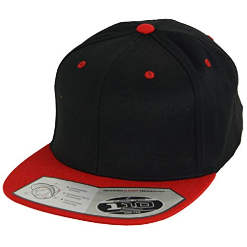 Flexfit 110 Fitted Snapback Casquette ajustable Noir/rouge Taille unique