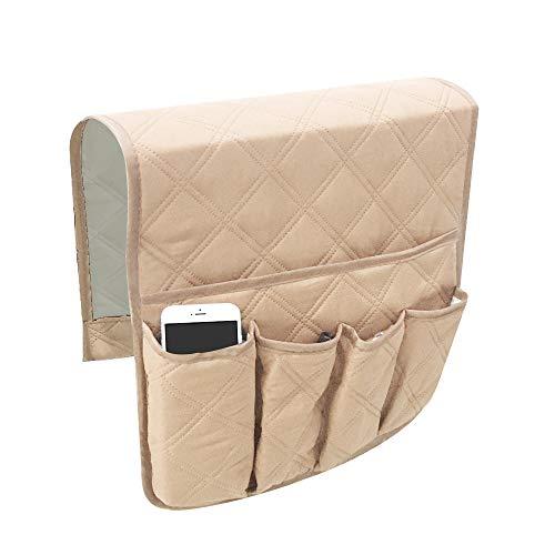 YuamMei Sillón Sofá antideslizante y antideslizante Organizador para reposabrazos de sofá, con 5 bolsillos para teléfono, libro, control remoto de TV (beige)