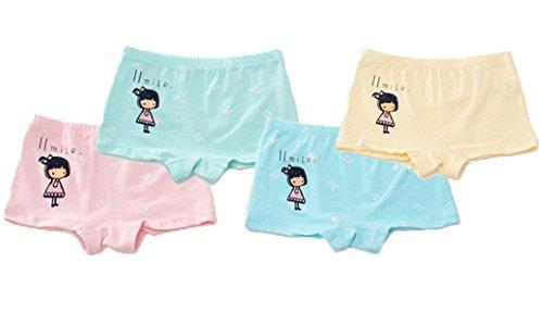 FAIRYRAIN Baby Kleinkind Mädchen Briefdruck Pantys Hipster Shorts Spitze Baumwollunterhosen Unterwäsche 4 Packung