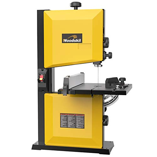 Woodskil 3A 9-Inch Band Saw,2500FPM & 1720RPM Low Noise Induction Motor Bandsaw Anti-Shake with Steel Base and Cast Aluminum Table,Removable Safety Key,Benchtop Band Saw with Fence and Miter Gauge.
