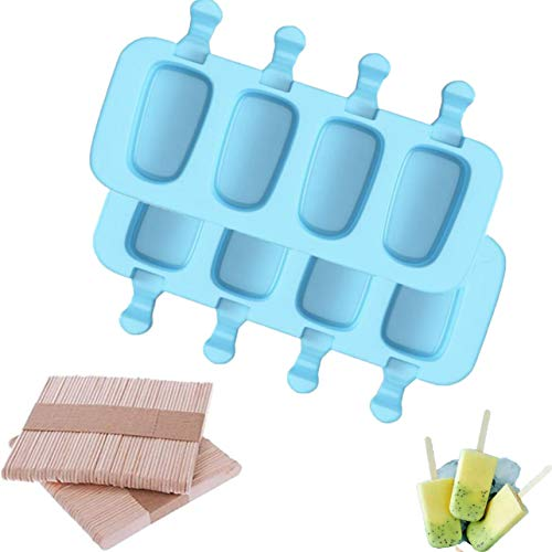 Popsicle Molds Set of two Pcs, 4 Cavities Homemade Ice Pop Molds Oval, with 100 Wooden Sticks for DIY Ice Cream