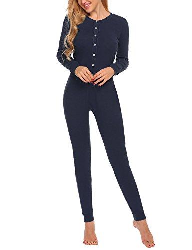UNibelle Damen Hausanzug Onesie Thermowäsche mit Knopfleiste Nachtwäsche Schlafanzug Navy Blau - 3
