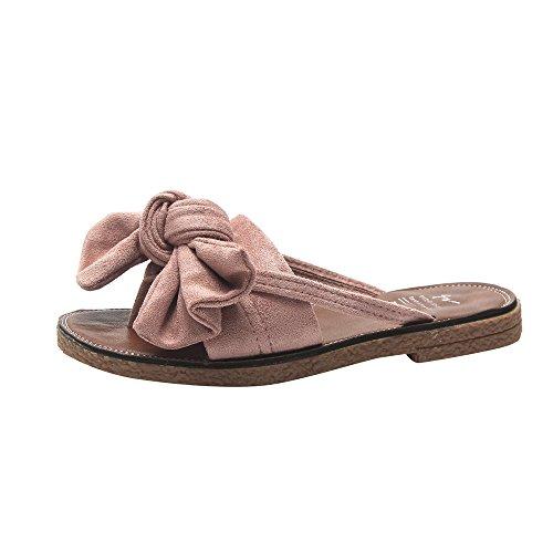 Surttan Sandalias de Mujer con Lazo en la Parte Inferior Plana Inferior Suave y Suave Antideslizante Zapatos de Playa Zapatillas Sandalias Planas para Exteriores