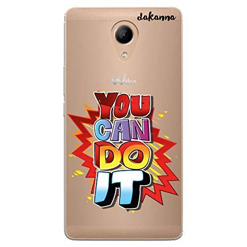 dakanna Funda Compatible con [Wiko Robby] de Silicona Flexible, Dibujo Diseño [Frase Motivacional, You Can do it], Color [Fondo Transparente] Carcasa Case Cover de Gel TPU para Smartphone