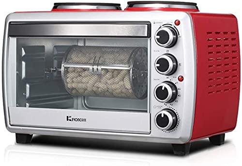 ZJDM Mini Horno de 25 l con quemadores Dobles 800 W y 1000 W Cocina de inducción de Escritorio 1800 W Múltiples Funciones de cocción y Parrilla Ajuste de Temperatura 0-250 ℃ y Temporizador de 60