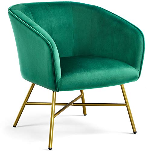 Yaheetech Modern Accent Chair Soft Velvet Tub Chair Side Armchair Sofa Lounge Upholstered Back Sturdy Metal Legs for Living Room Cafe Home Green