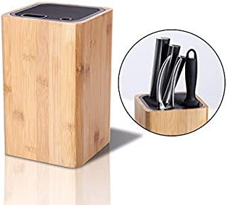 KITCHENDAO Deluxe Universal Knife Block with Slots for Scissors and Sharpening Rod - Eco-Friendly Bamboo Knife Holder for Safe, Space Saver Knives Storage - Unique Slot Design to Protect Blades