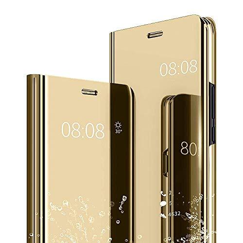 Karomenic - Funda protectora para Samsung Galaxy J7 2016, con espejo, de piel sintética de poliuretano, con función atril, diseño transparente, dorado