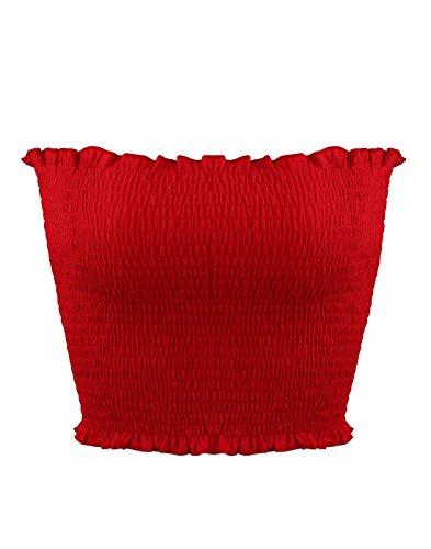 Sweet Bei J - Camiseta de manga larga para mujer, sin hombros, para fiestas, sin abdomen rojo1 L