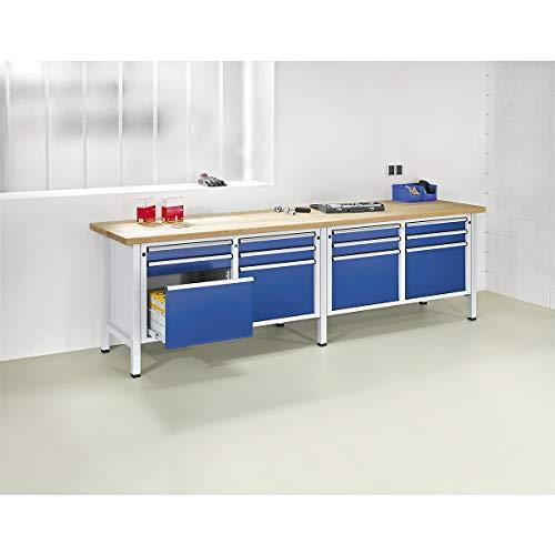 ANKE Werkbank, extrabreit, 2 Türen, 6 Schubladen mit Teilauszug Stahlblechbelagplatte - Arbeitstisch Montagetisch Werkbank Werktisch