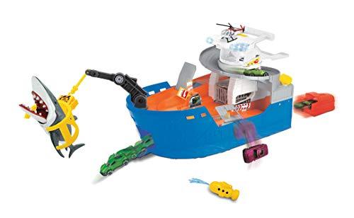Dickie Toys Shark Attack, Spielzeugboot, Spielset mit Tragegriff, inkl. Fahrzeug & Helikopter, Hai mit Schnappfunktion, knautschbares U-Boot mit Wasserspritze, Haikäfig, Maße 50x18x22 cm, ab 3 Jahren