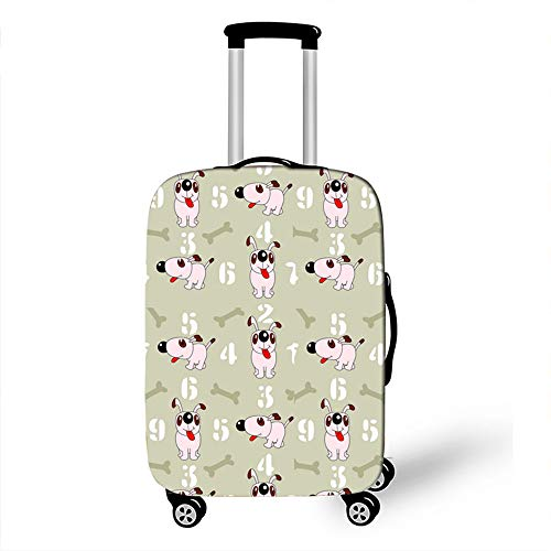 Elastic Luggage Cover, CNNINHAO 3D Print Trolley Case Protective Travel Suitcase Anti Scratch Dustproof Resistant Case Trolley Skin Protector Elasticized Washable (4,L (26-28inch))