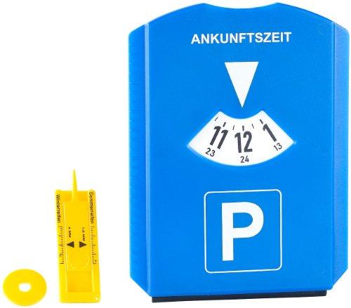 PEARL Einkaufswagenchip: Parkscheibe mit Eiskratzer, Einkaufs-Chip und Profilmesser (Profiltiefenmesser)