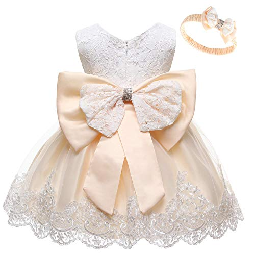 WOCINL Baby Meisjes Kant Strik Bloemenjurken Prinses Bruiloft Verjaardag Optocht Doop Tutu Jurk w/Hoofddeksels - beige - XS