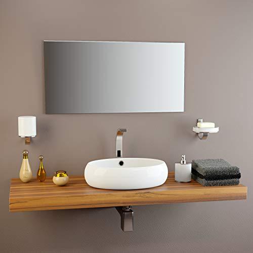 glasshop24 Badezimmer-Spiegel Wandspiegel Bad-Spiegel Silber | Spiegel ohne Rahmen, Spiegel zum Aufhängen mit Befestigungsset | Hochglanzpolierte Kanten | BxH 50x100 cm