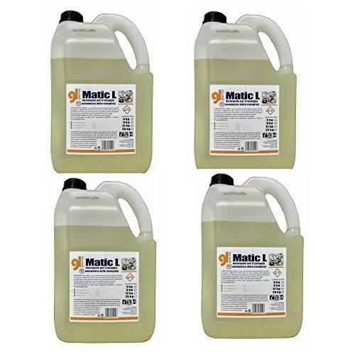 MATIC L Detersivo Professionale concentrato Liquido lavastoviglie, Lavabicchieri, Lavatazzine Bar - 4 taniche da 5 kg Conforme haccp