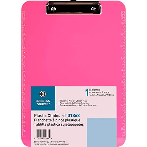"Neon Pink Transparent Plastic Clipboard, 9"" x 12.5"" (SPR01868)"