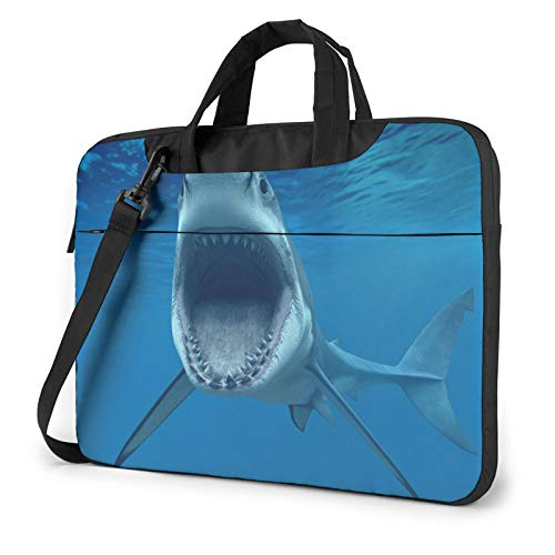 Laptop Shoulder Bag - Great White Shark Printed Shockproof Waterproof Laptop Shoulder Backpack Bag Briefcase 13 Inch