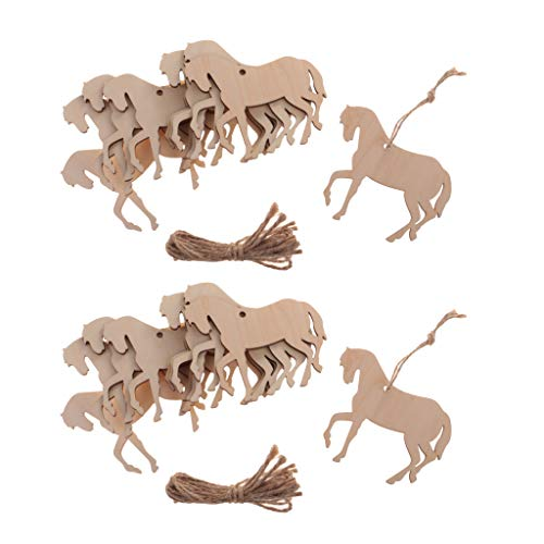 chiwanji 20 Stück Holz Pferd Form Ausschnitt Ornament Verzierung Tag mit Schnur