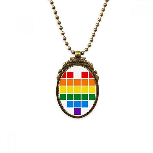 DIYthinker Collar de latón Envejecido, diseño de corazón con Forma de Gays, Estilo Vintage